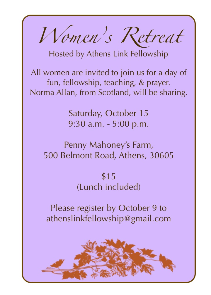 Women's Retreat! | athens link fellowship (the blog)